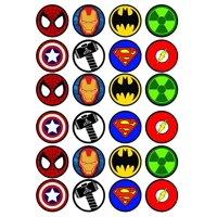 24 Superhero Edible Cupcake Toppers