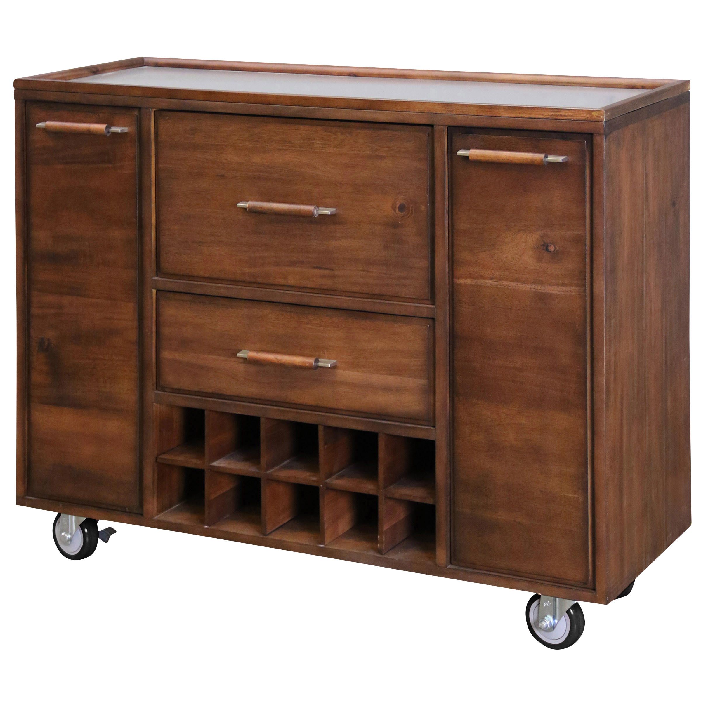 Metal Work Top Mobile Bar Trolley with Black Rubber Wheels - Natural Wood Finish