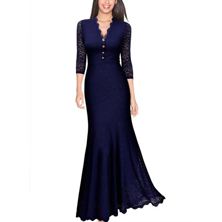 MISSMAY Women's Retro V Neck Floral Lace 2/3 Sleeve Wedding Party Maxi Dresses for Women (Navy Blue