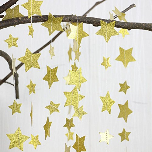 Gold Glittery Star Garland Decoration 5 Meters Elegant Shiny And Sparkling 26 Feet Long Party Background Decor. Great For Christmas, Weddings, Birthday Parties, Bridal Showers, Holidays, Baby Showers