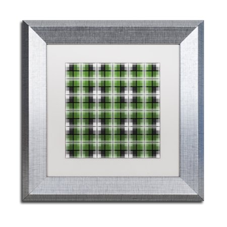 Trademark Fine Art 'Green Gray Check 2' Silver Framed Art by Jennifer Nilsson