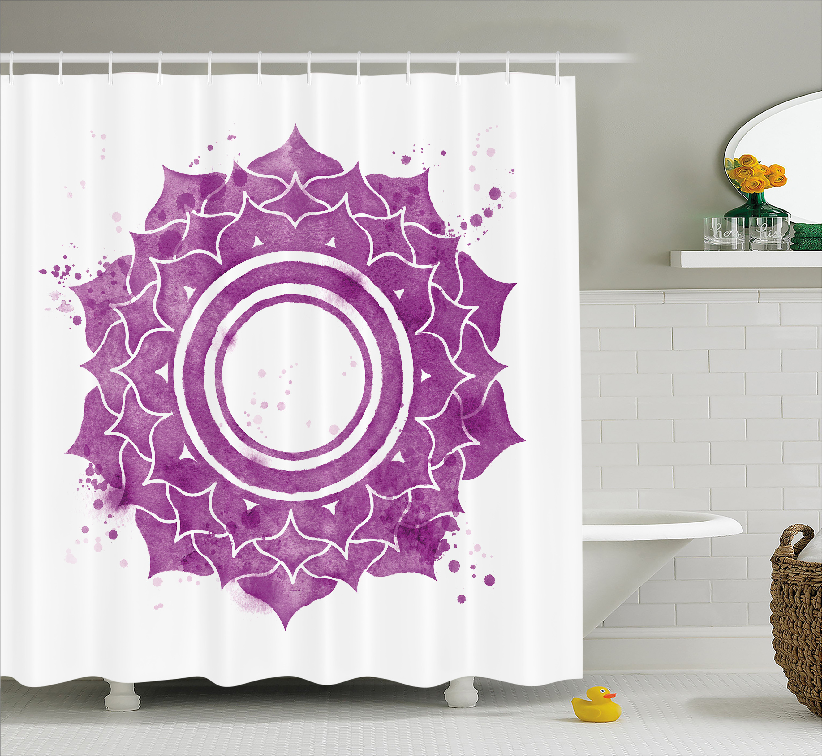 Chakra Shower Curtain Watercolor Flower With Sketch Splashes Around Universe Ethereal Artwork Print Fabric Bathroom Set Hooks Purple White