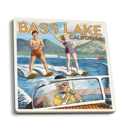 Bass Lake, California - Water Skiing - Lantern Press Artwork (Set of 4 Ceramic Coasters - Cork-backed, (Best Lakes In California For Jet Skiing)