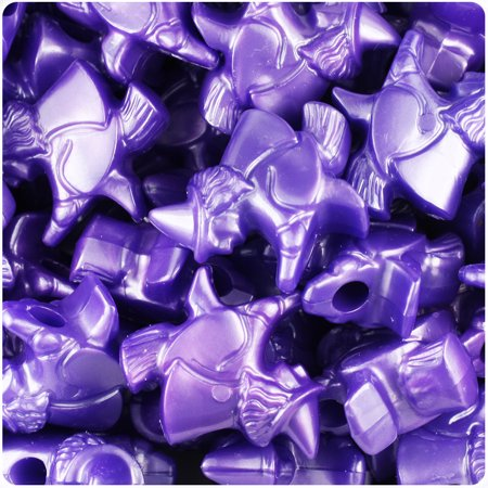 BeadTin Dark Purple Pearl 24mm Halloween Witches Pony Beads - Halloween Bread