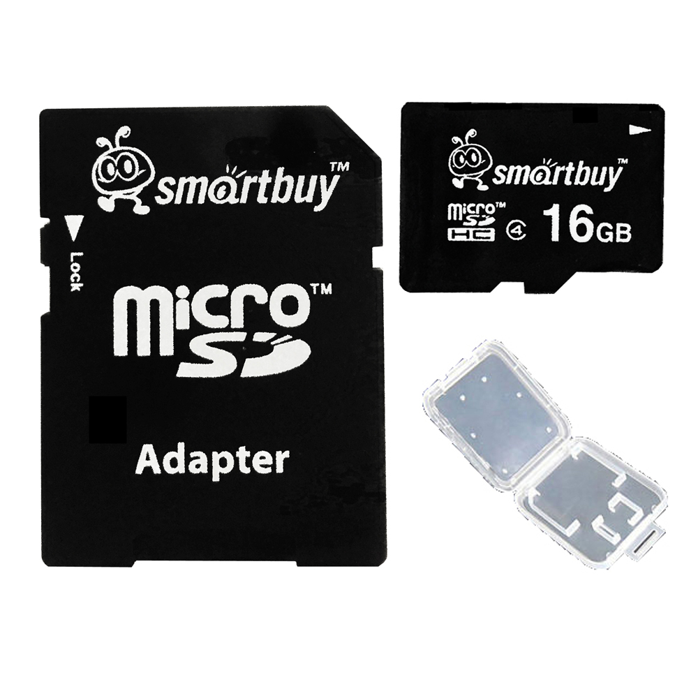 Smartbuy 16GB Micro SDHC Class 4 TF Flash Memory Card SD HC C4 Fast Speed for Camera Mobile Phone Tab GPS MP3 TV + Adapter + Mini Case