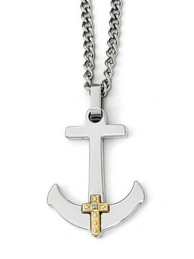 1eb03917484c Product Image Polished 14k Gold Diamond Accented Cross Mariner Anchor  Stainless Steel Necklace