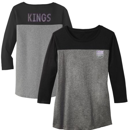 Sacramento Kings Women's Rally Rhinestone Color Blocked 3/4 Sleeve T-Shirt - Gray - Sacramento Costume Shops