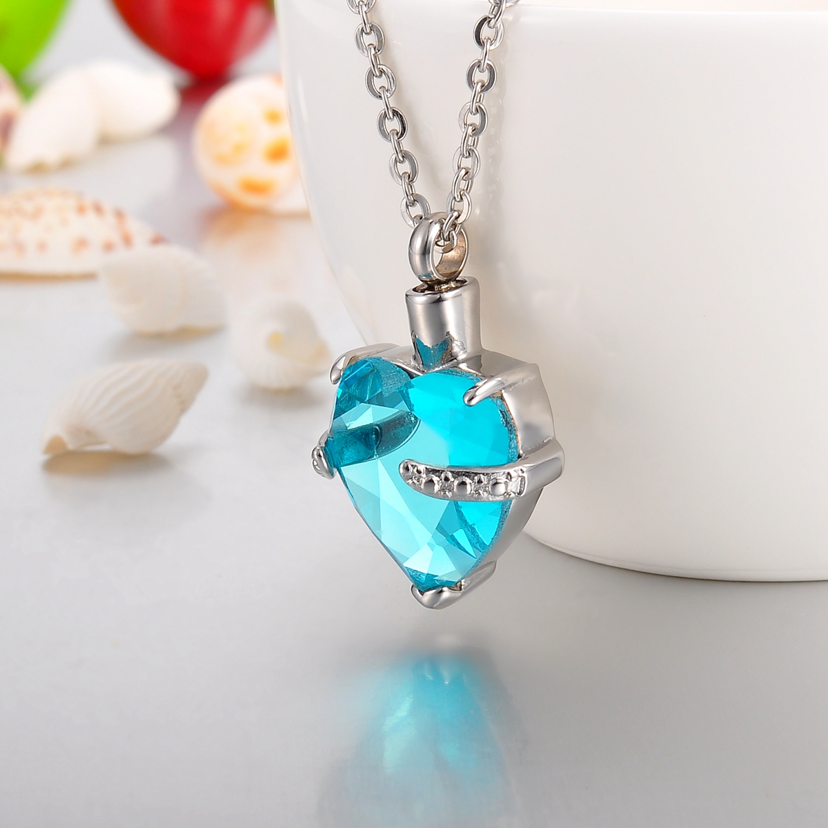 NEW Aquamarine Hold My Heart Cremation Jewelry Keepsake Ash Urn Holder Necklace