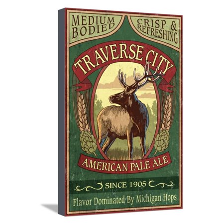 Halloween Store Traverse City (Traverse City, Michigan - Elk Head Pale Ale Vintage Sign Stretched Canvas Print Wall Art By Lantern)