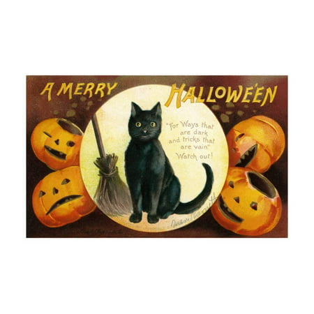 Halloween Greetings with Black Cat and Carved Pumpkins, 1909 Print Wall Art By Ellen Hattie Clapsaddle