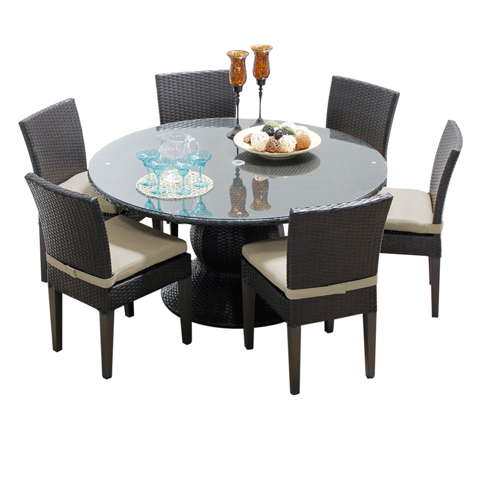 Pluto 60 Inch Outdoor Patio Dining Table With 6 Chairs