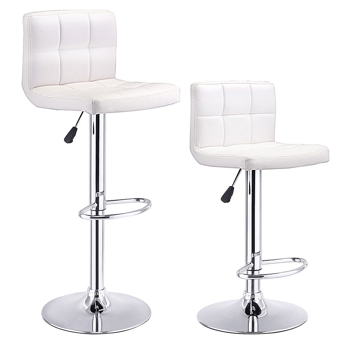 Costway Set Of 2 Bar Stools PU Leather Adjustable Bar Stool Swivel Pub Chairs White by Costway