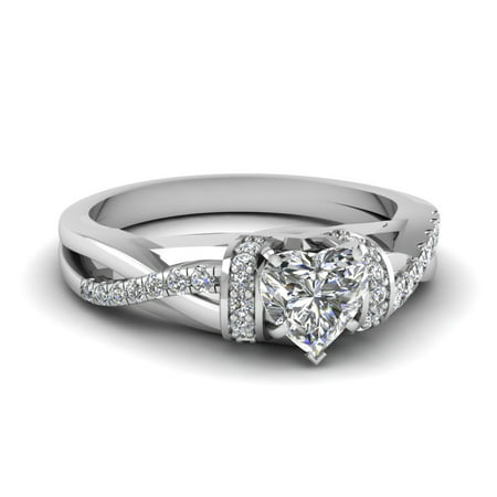 Twist Pave Set Diamond Engagement Ring With 0.60 Carat Heart Shaped In 14K White Gold GIA Certified