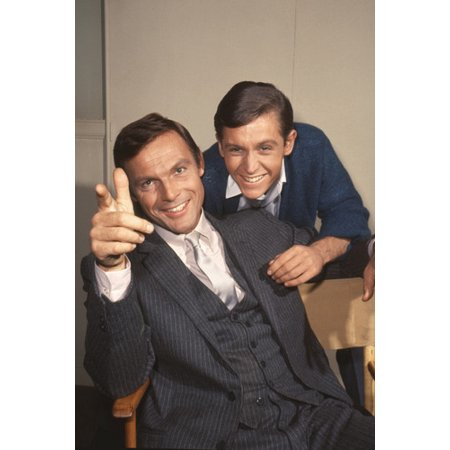 Adam West and Burt Ward in Batman candid smiling out of costumes in suits on set 24x36 Poster for $<!---->
