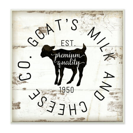The Stupell Home Decor Collection Goat Milk and Cheese Co Vintage Sign Wall Plaque Art, 12 x 0.5 x 12