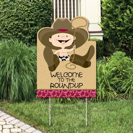 Cowboy - Party Decorations - Western Birthday Party or Baby Shower Welcome Yard Sign
