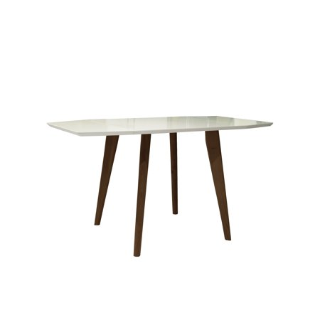 Sinclair Extendable Mid-Century Modern Matte White and Teak Finish Indoor Dining Table