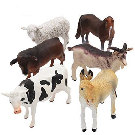 6 PCS Large Plastic Educational Farm Animals Action Figure Toys Playsets ()
