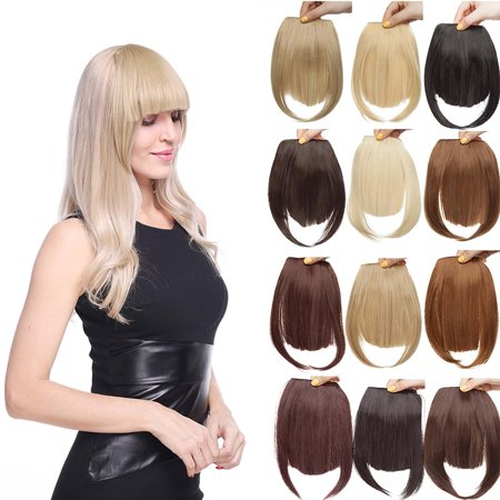 S-noilite Hair Bangs Clip in Hair Extensions Front Neat Bang Fringe One Piece Striaght Hairpiece Accessories ,silver gray,8