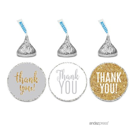 Signature Light Gray, White, Gold Glittering, Chocolate Drop Labels Stickers, Thank You, (Chocolate Lab Sticker)