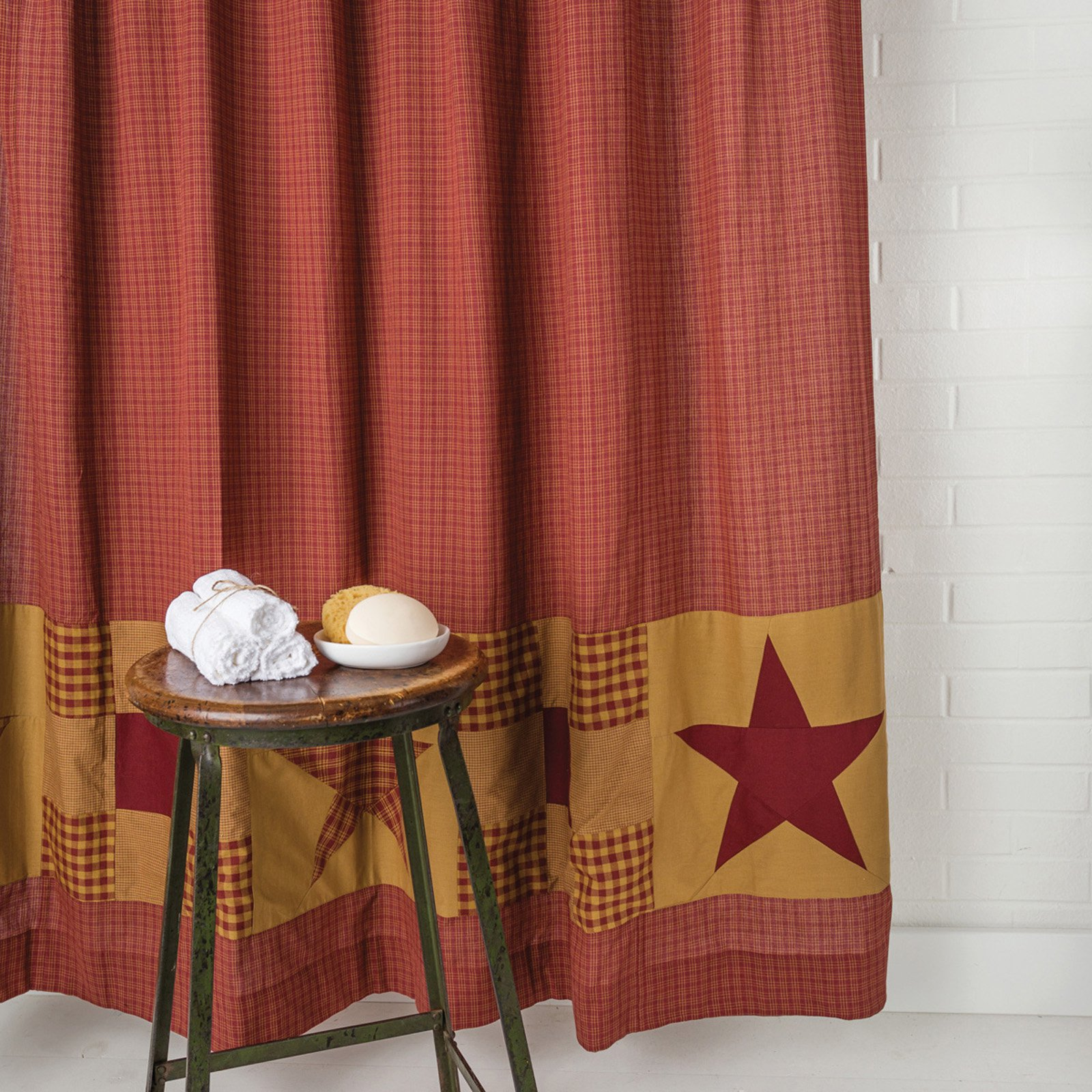 VHC Ninepatch Star Shower Curtain with Patchwork Borders