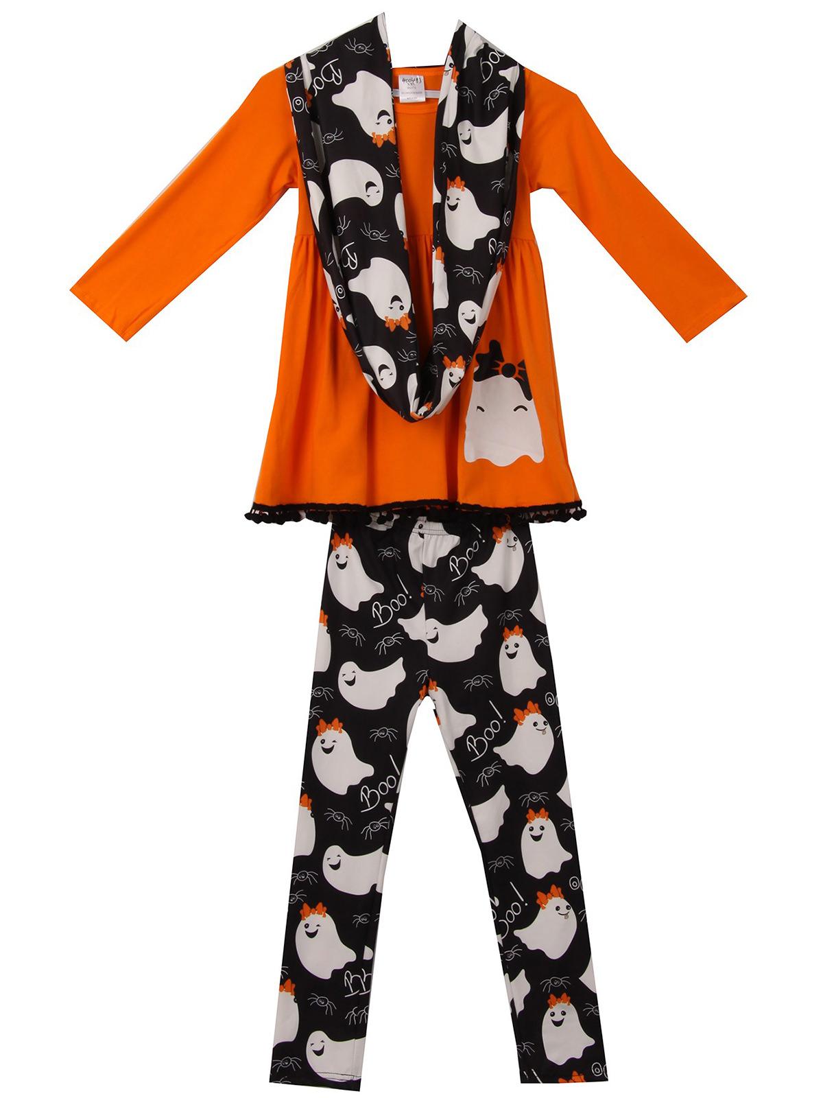 Toddler Girls 3 Pieces Set Halloween Outfit Long Sleeve Top Pants Scarf ClothingOrange 2T XS (P400483P)