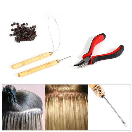Filfeel 100PCS Silicone Beads Hair Extension Micro Rings + Hook Needle + Pulling Loop + Plier Tool Kit, Hair Extension Tools, Hair Extension (Best Tool To Pull Dandelions)