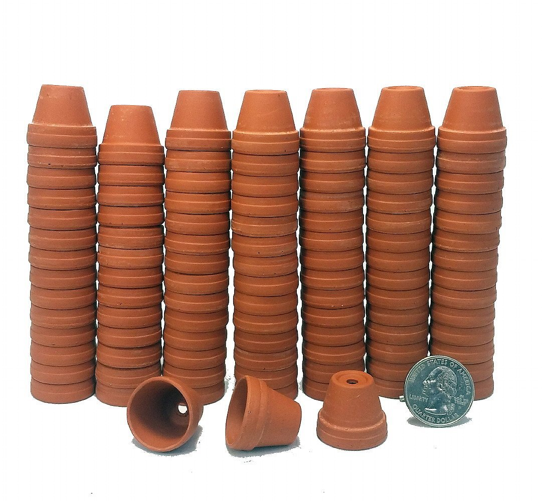 """100 - 7/8"""" Thimble Size Clay Pots - Great for Plants/Craf..."""