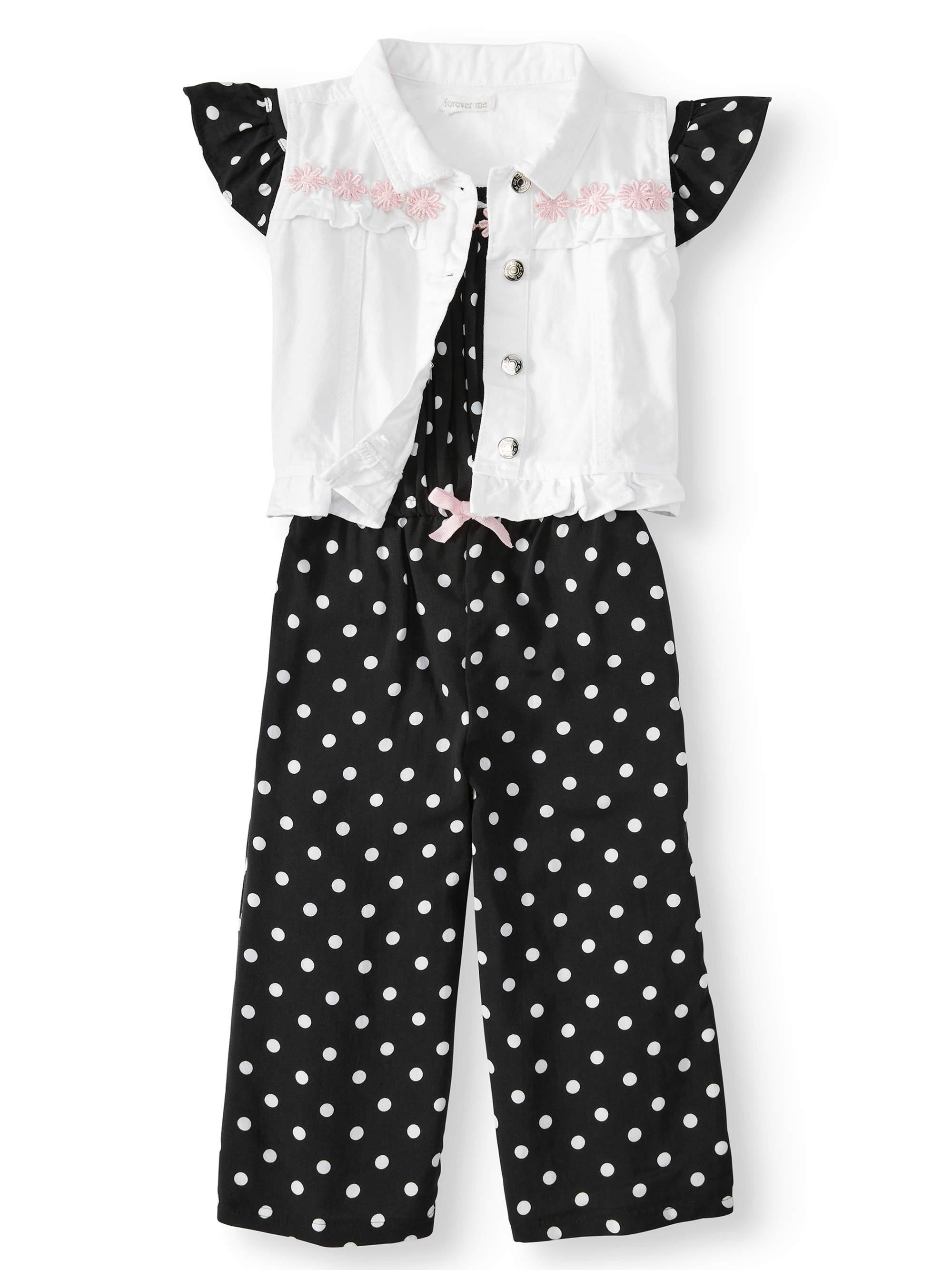 Polka Dot Cold Shoulder Jumpsuit and Vest, 2-Piece Set (Little Girls & Big Girls)