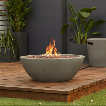 Riverside Propane Fire Bowl in Glacier Graywith Natural Gas Conversion kit by Real