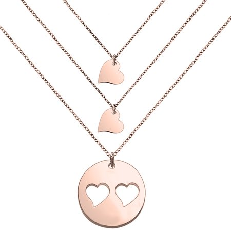 Mother and Daughters Necklace Set- Mom and Daughter Jewelry- Gift for Mom- Mother's Day Gift (Rose gold mom and 2 daughter) Aqua Master Rose Gold Necklace