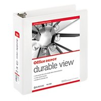 Office Depot Nonstick Round-Ring View Binder, 3in. Rings, 100% Recycled, White, OD02972