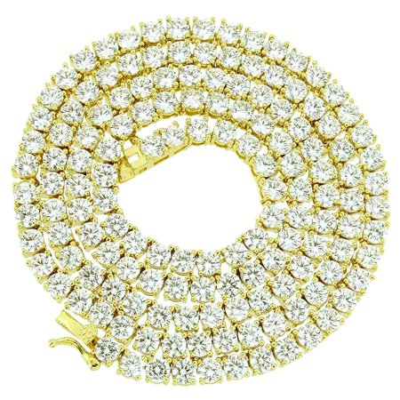 Hip Hop Mens 14K Yellow Gold Finish 3MM 1 Row White Lab Diamond Chocker Tennis Link Chain 18 to 24 Inches - 20 Inches