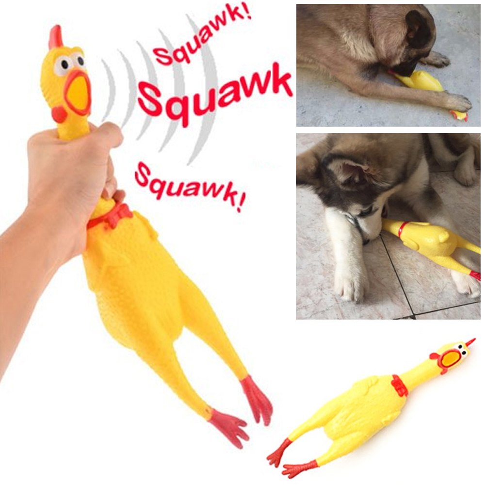 Large Rubber Chicken Squeeze Squeak Pet Dog Puppy Shrilling Chew Screaming Toy