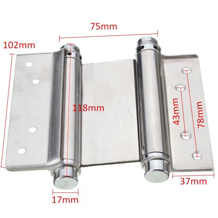 """4PCS 4"""" Inch Stainless Steel Double Action Spring Hinge Hardware Cafe Saloon Door Hinge Swing Free Door Kitchen Gate With Screws - image 3 of 9"""