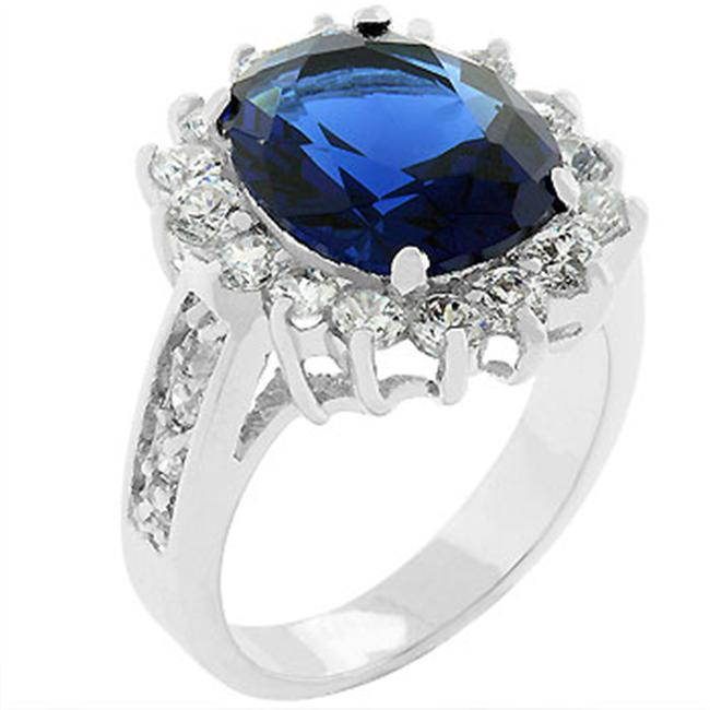Sunrise Wholesale J1440 Oval Sapphire Crystal and Round CZ Trimmed Bleu Elegance Ring - Size 10