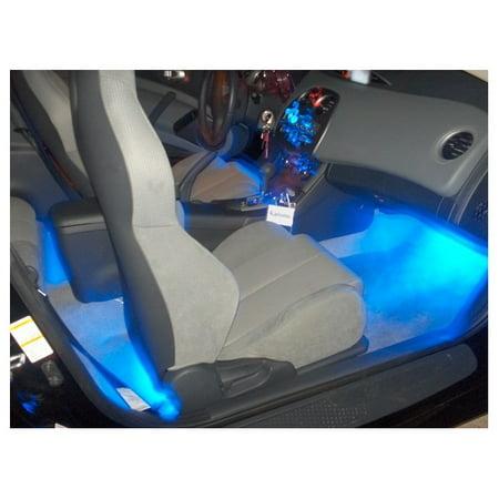 Blue Interior LED Lighting Kit 4-Flexible LED Strips For Inside Cars & (Parts Inside Car)