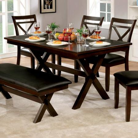 Furniture of America Clevelan Dark Cherry Wood 60-inch Transitional Dining (Dark Cherry Office Furniture)