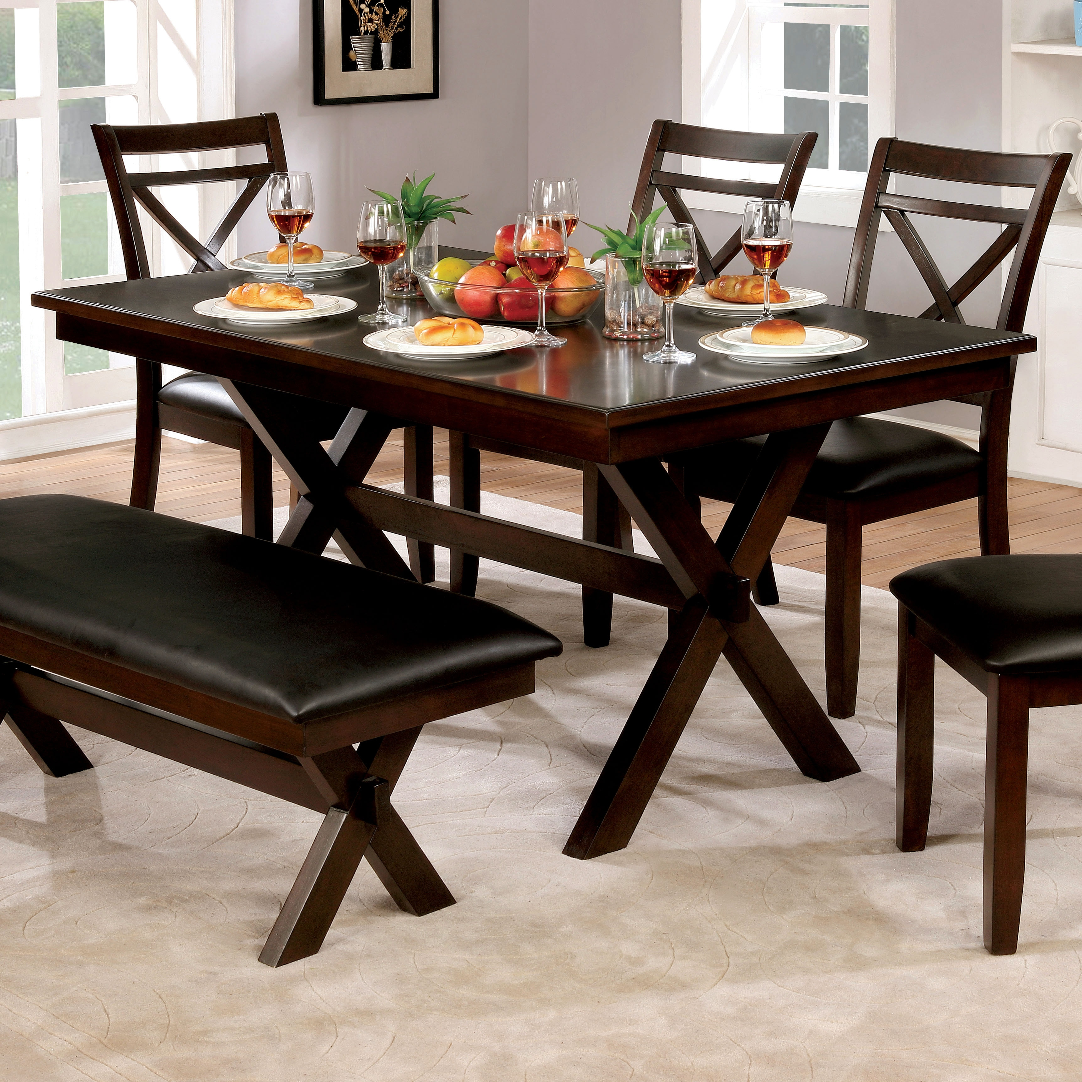Superior Furniture Of America Clevelan Dark Cherry Wood 60 Inch Transitional Dining  Table
