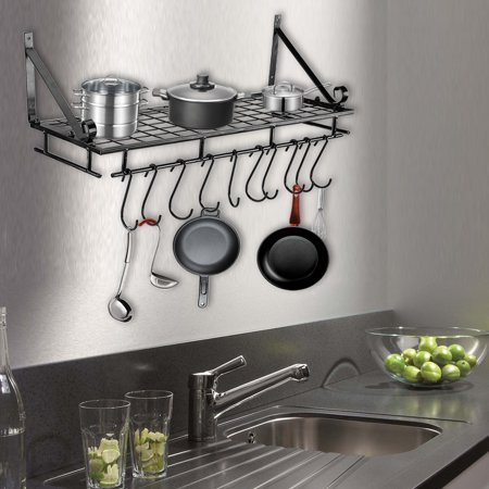 Filfeel Metal Hanging Pan Pot Rack Wall Mounted With 10 Hook Holder Kitchen Storage Organizer