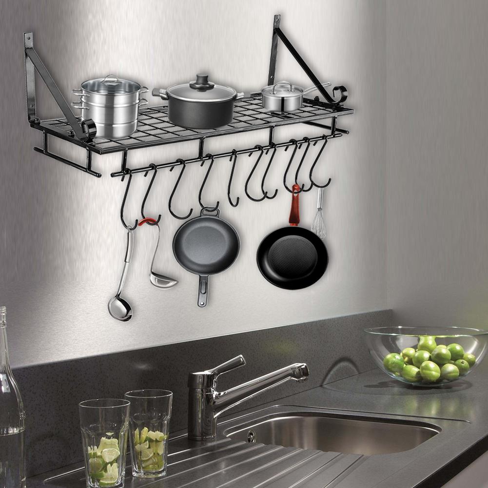 Wall Mount Pot Pan Hanging Rack Kitchen Cookware Storage Organizer Holder Hook