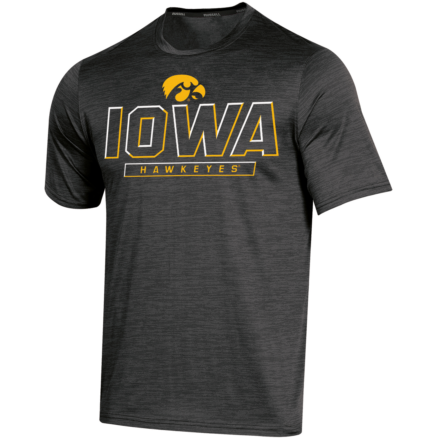 Men's Russell Black Iowa Hawkeyes Synthetic Impact T-Shirt