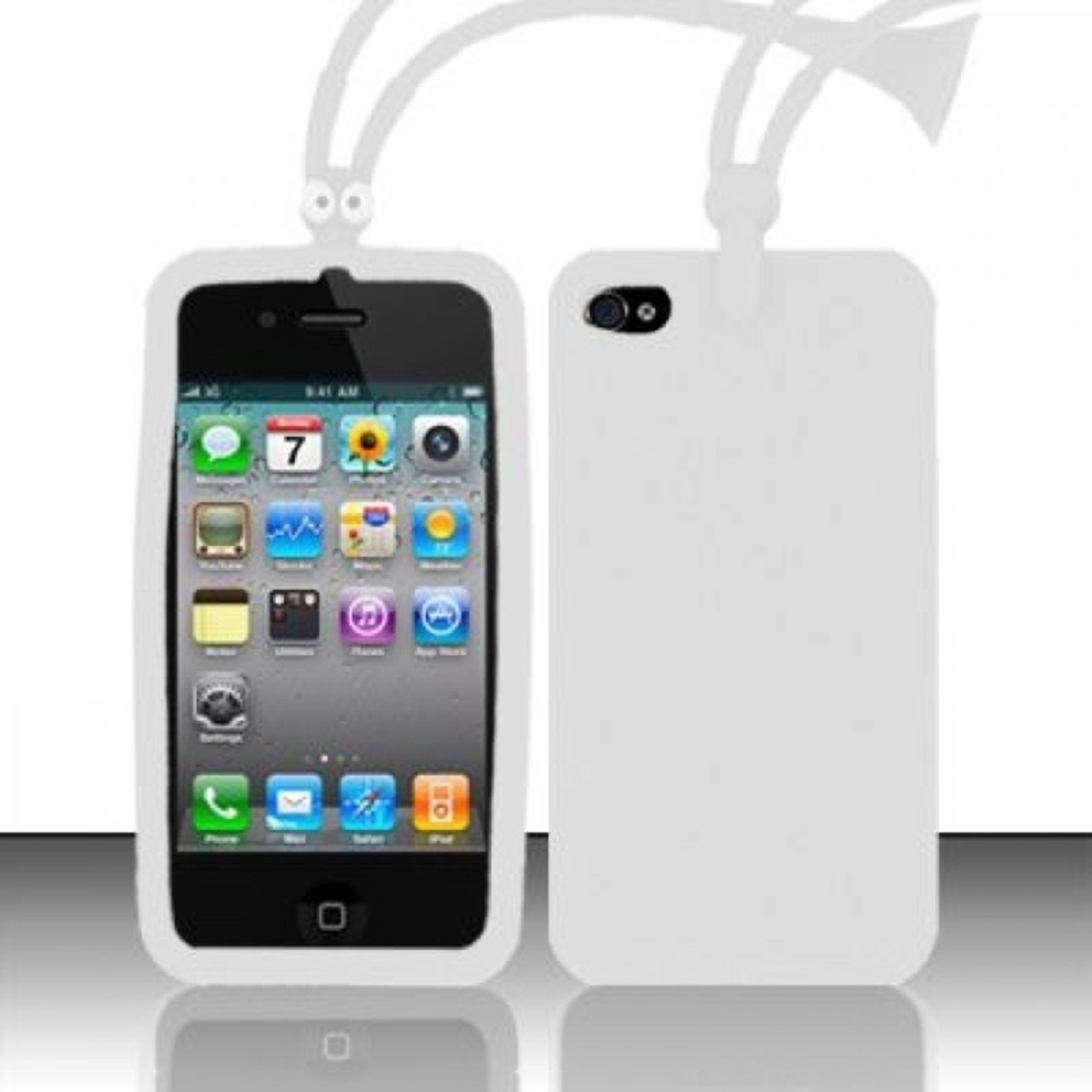 Insten White Ant Style Silicone Soft Skin Case Cover For Apple iPhone 4/4S