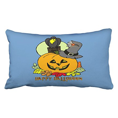 WinHome Cartoon Fashion Happy Halloween Pumpkin Crow Pattern Polyester 20 x 30 Inch Rectangle Throw Pillow Covers With Hidden Zipper Home Sofa Cushion Decorative Pillowcases - Happy Halloween Pumpkin Patterns