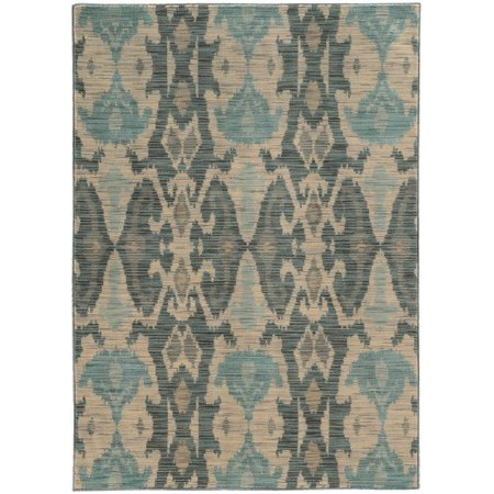 Moretti Birani Area Rugs - 6410D Contemporary Ivory Waves Curls Curves Symmetrical Rug