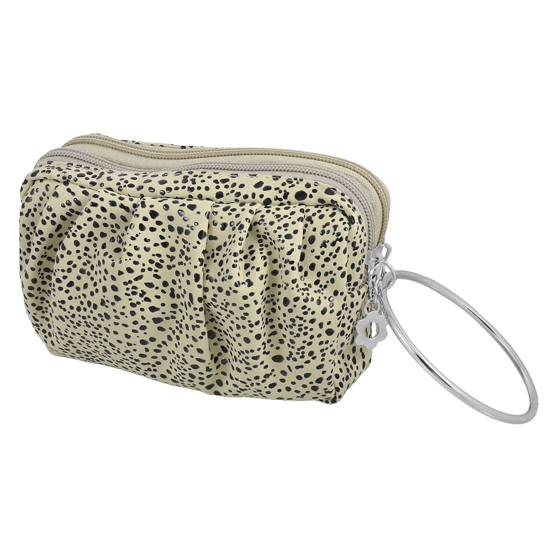 Unique Bargains Double Pocket Metal Ring Zipped Beige Faux Leather Spotted Wristlet Pouch