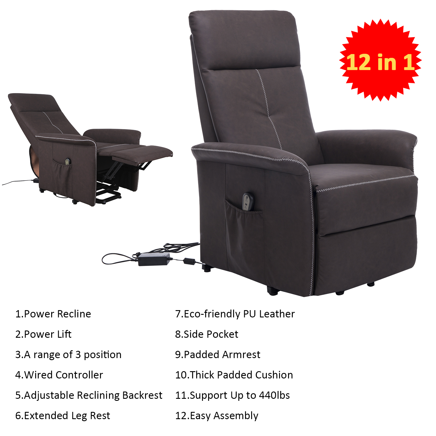 Hom PU Leather 3 Position Electric Lift Chair and Recliner with
