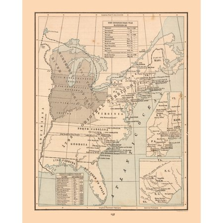 International Map - United States, Constitution - Cram\'s Atlas 1888 - 23 x  28.71