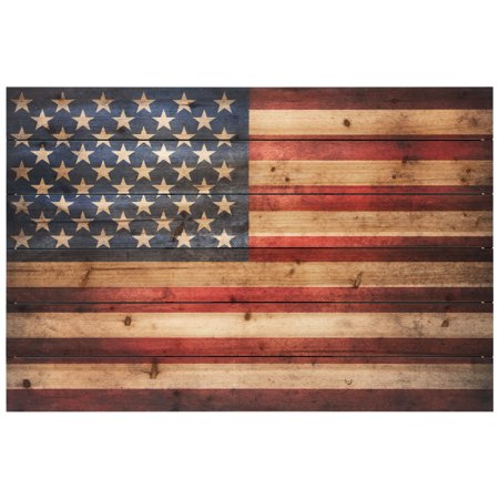 Empire Art Direct American Flag Print on Solid Wood Wall Art, 24