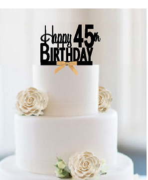 Excellent Item045Ctgr Happy 45Th Birthday Elegant Cake Decoration Topper Personalised Birthday Cards Paralily Jamesorg
